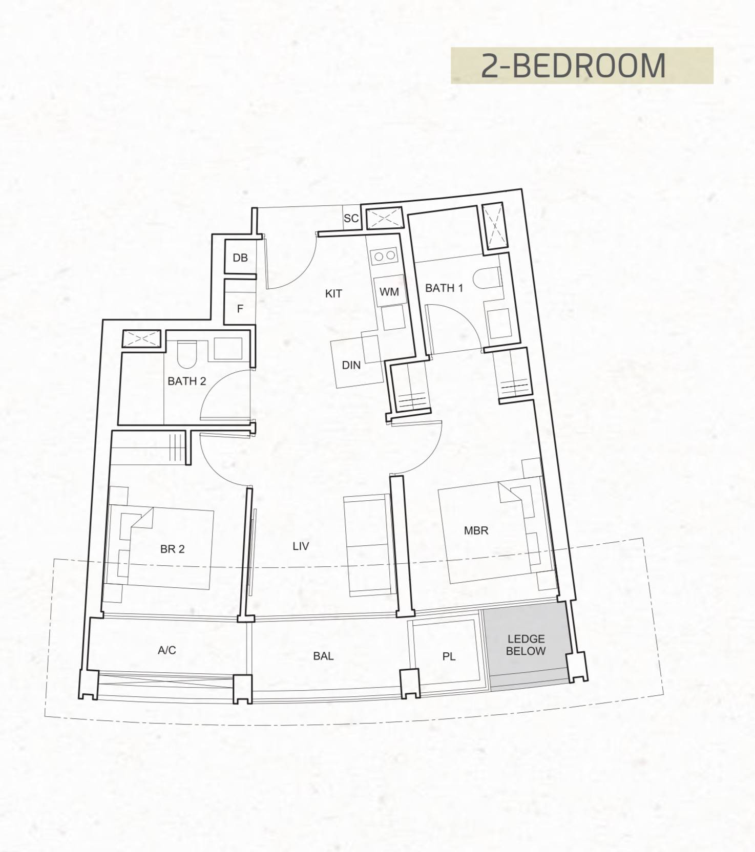 One Pearl Bank Typical 2 Bedroom