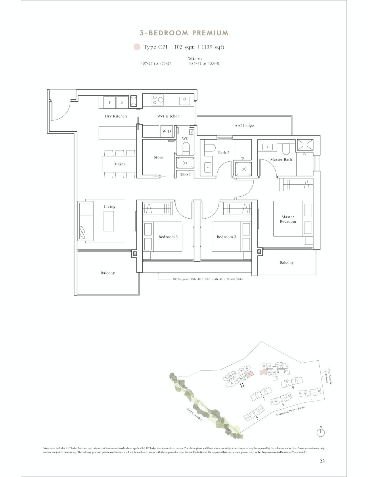 Avenue South Residence Typical 3 Bedroom Premium